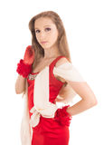 Young female in red dress. Girl dressed in a red dress and red lace gloves Royalty Free Stock Photos