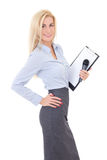 Young female reporter with microphone and clipboard isolated on. White background Royalty Free Stock Image