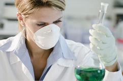 Young female researcher working with beaker Stock Image