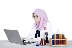 Young researcher working on laptop computer. Young female researcher working on a laptop computer with test tube and microscope on the table Royalty Free Stock Photography