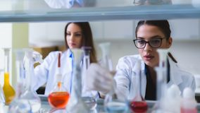 Young female researchers conducting laboratory test. Chemistry and medicine students working in a laboratory. Young female researchers doing lab tests royalty free stock image