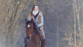 Young female rider riding a black horse through the drifts in the winter frozen forest stock image