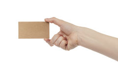 Young female right hand hold blank brown paper card Stock Photography