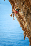 Young female rock climber on a cliff. Stock Images
