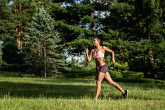 Young female runner jogging during outdoor workout in a park. Beautiful fit girl. Weight Loss. Sport LIfestyle. royalty free stock photography