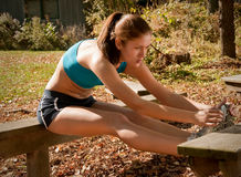 Young female runner stretching Royalty Free Stock Images