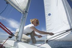 Young Female Sailing Stock Photo