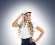 A young female sailor woman in a white clothes Stock Photo
