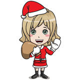 Young Female Santa Claus Character. Young Female Santa Claus, standing, smiling, carrying a bags, dressing in red suit, white gloves, black boots, blond hair Royalty Free Stock Photos