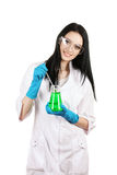 Young female scientist holding test-tube Stock Images