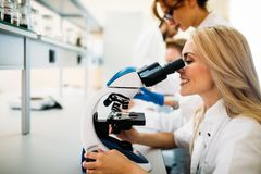 Young scientist looking through microscope in laboratory Royalty Free Stock Images