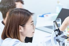 Young female scientist student mixing substances in test tube. Copy space Stock Photography