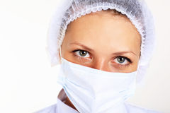 Young female scientist wearing face mask Stock Photos