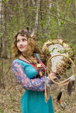 Young female Shaman in the woods. Portrait of a young lady - Female sorcerer Stock Photography
