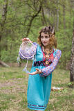 Young female Shaman in the woods. Portrait of a young lady - Female sorcerer Stock Images