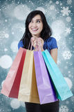 Young female shopper with snowflake background Stock Image