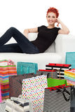 Young female and shopping bags Stock Image