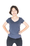 Young female short hair with blank gray t-shirt. Cutout isolated on white background stock photo