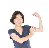 Young female short hair with blank gray t-shirt Royalty Free Stock Photos