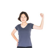 Young female short hair with blank gray t-shirt Stock Photo