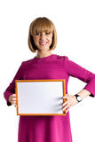 Young female show blank frame isolated Stock Photo