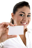 Young female showing business card Stock Photos