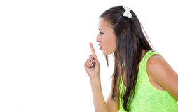 Young female showing hand silence sign Royalty Free Stock Photos
