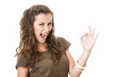 Young female showing ok sign Royalty Free Stock Photos