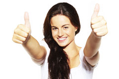 Young female showing a thumbs up Stock Photo
