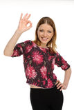 Young female showing a thumbs up Royalty Free Stock Images