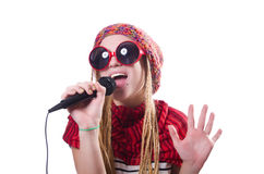 Young female singer with mic Royalty Free Stock Photo