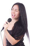 Young female singer with mic Royalty Free Stock Photography
