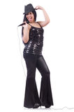 Young female singer with mic Stock Photography