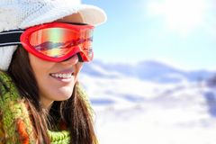Young female skier with goggles. Stock Photo