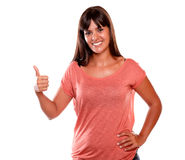 Young female smiling and showing you ok sign Stock Photos
