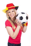 Young female soccer fan with ball Stock Photo