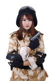 Young female soldier. Royalty Free Stock Photo