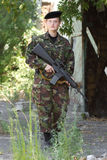 Young female soldier on guard Royalty Free Stock Photography