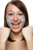 Young Female Sports Fan With Argentinian Flag Pain. Ted On Face Royalty Free Stock Photos