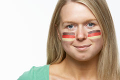 Young Female Sports Fan With German Flag Royalty Free Stock Photography
