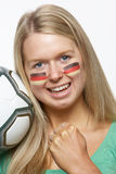Young Female Sports Fan With German Flag Royalty Free Stock Image
