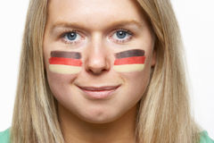 Young Female Sports Fan With German Flag Royalty Free Stock Photo