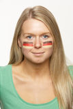 Young Female Sports Fan With German Flag Painted O Stock Photography