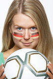 Young Female Sports Fan With German Flag Painted O Stock Photos