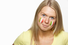 Young Female Sports Fan With Italian Flag Royalty Free Stock Photo