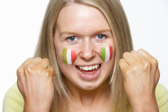 Young Female Sports Fan With Italian Flag Royalty Free Stock Images