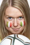 Young Female Sports Fan With Italian Flag Painted Royalty Free Stock Photos