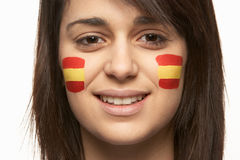 Young Female Sports Fan With Spanish Flag Stock Photography
