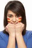Young Female Sports Fan With Spanish Flag Stock Photo