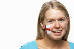 Young Female With St Georges Flag Painted On Face Royalty Free Stock Photo